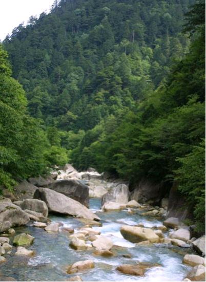 青く流れる阿寺渓谷
