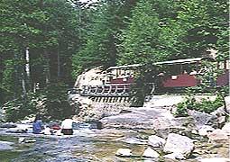 渓谷沿いを走る機関車