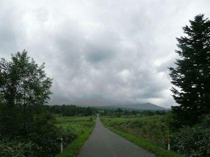 定点ポイントから雨雲に覆われた暑寒別岳