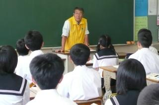 講師派遣として増毛中学校学年登山の事前講話会の様子です。