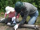 森林づくり塾鎌研ぎの様子