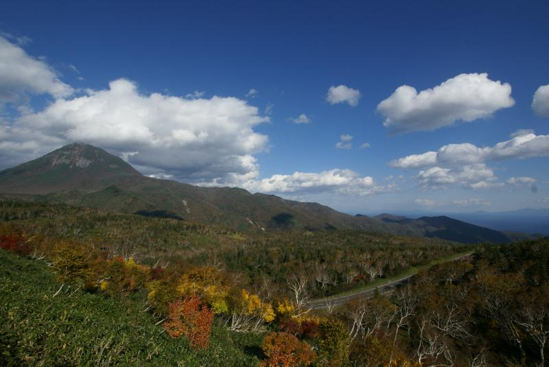連山と国後と紅葉