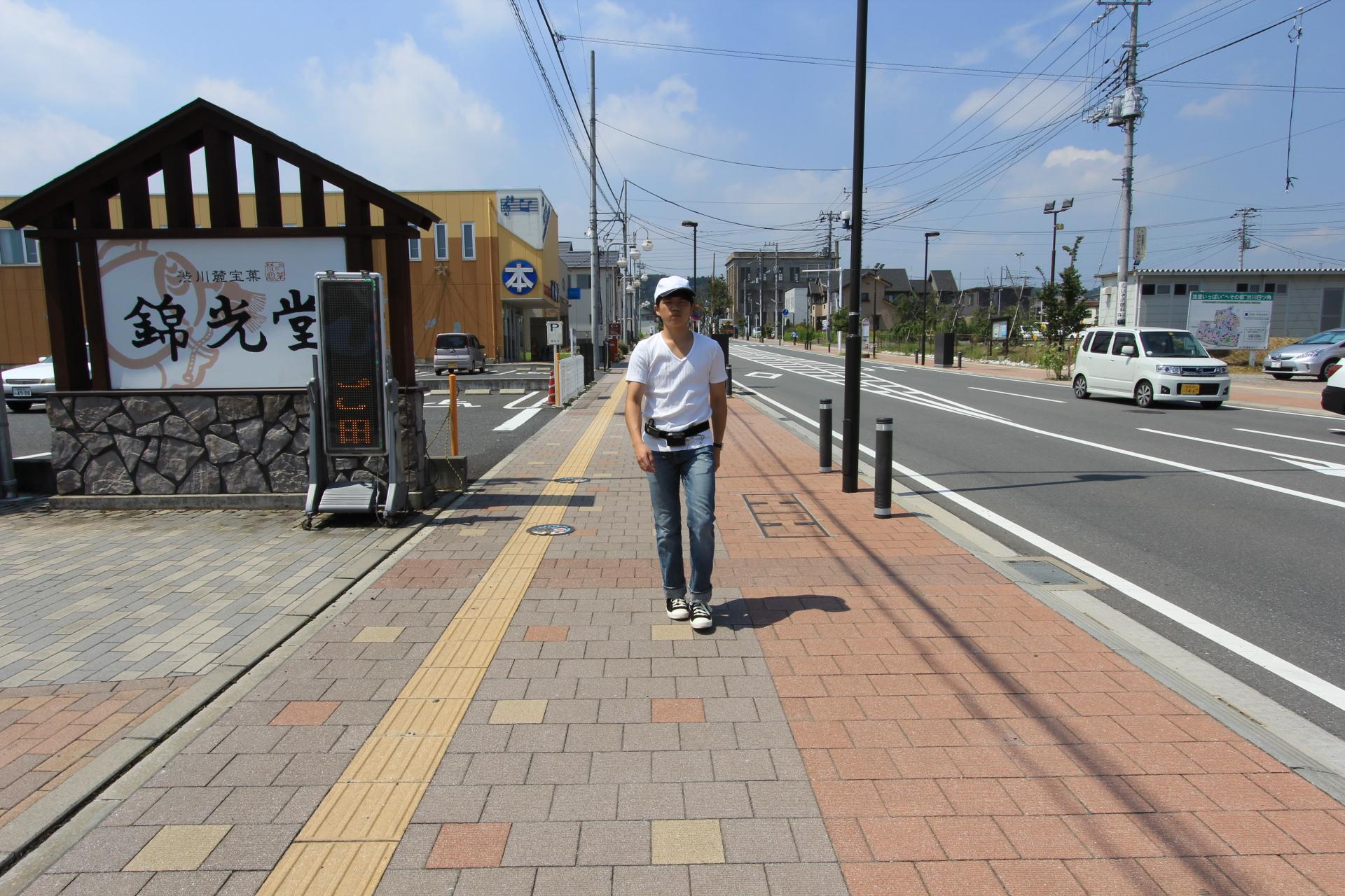 都市内を歩行