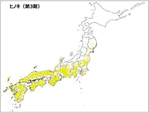 ヒノキの分布図