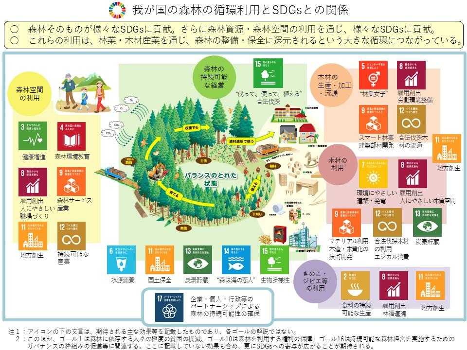森林とSDGsの関係図