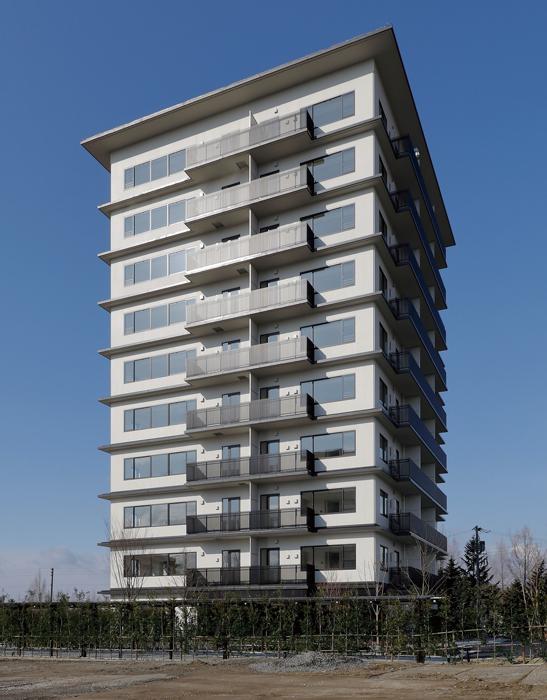 竣工した耐火構造(2時間)による10階建てマンション(宮城県仙台市)