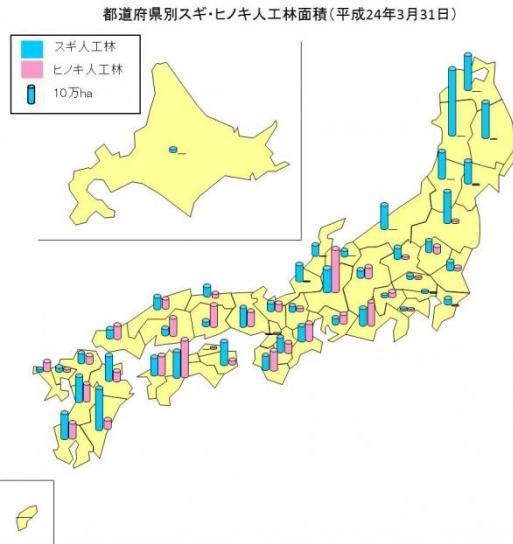 都道府県別スギ・ヒノキ人工林面積