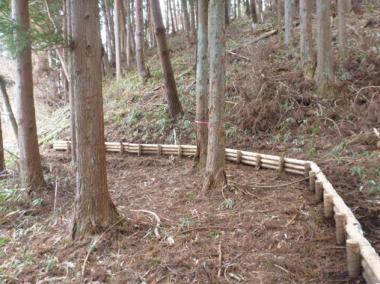 民有地との境界近くに設置した丸太柵