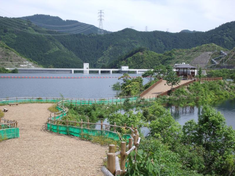 太田川ダムの最高水位試験状況