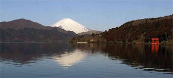 芦ノ湖風景林越しの雄大な富士山の眺望