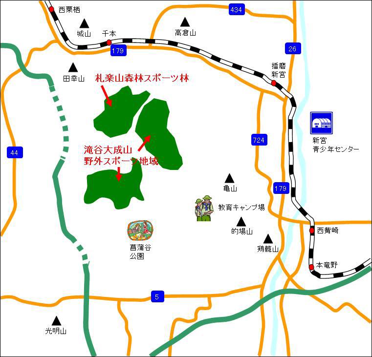 アクセスマップ 【札楽山・滝谷・大成山】