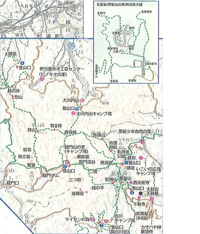 黒髪山自然休養林ー施設図