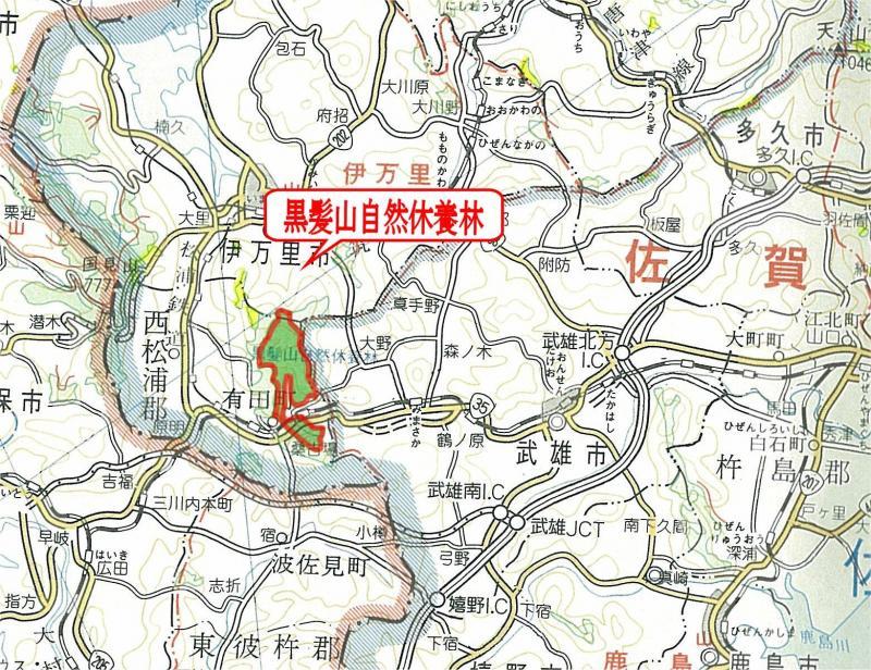 図面:黒髪山自然休養林
