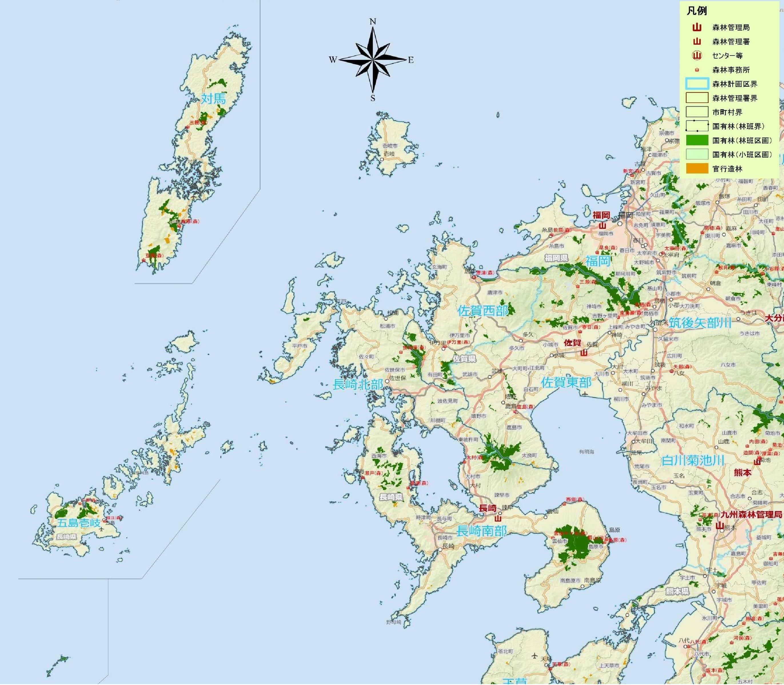 九州森林管理局/管内案内図